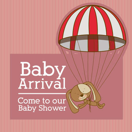 baby arrival design over pink background vector illustration   Vector