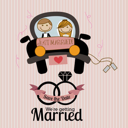married: married design over  lineal  background vector illustration