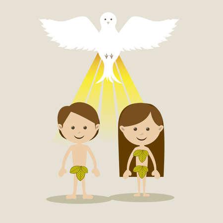 adam eve: adam and eve over white background vector illustration  Illustration