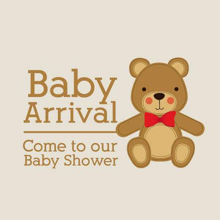 bear silhouette: baby arrival design over beige background vector illustration