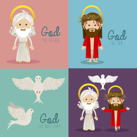 dad and son: holy design over colorful  background vector illustration