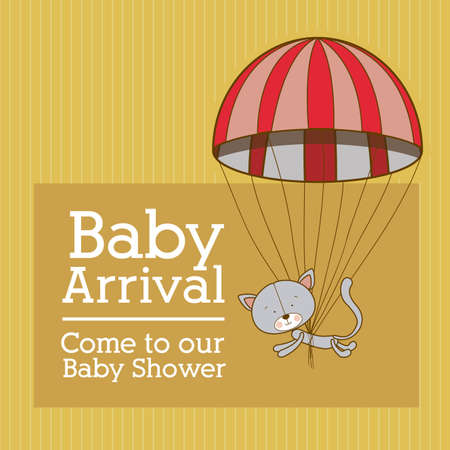 baby arrival design over yellow  background vector illustration   Vector