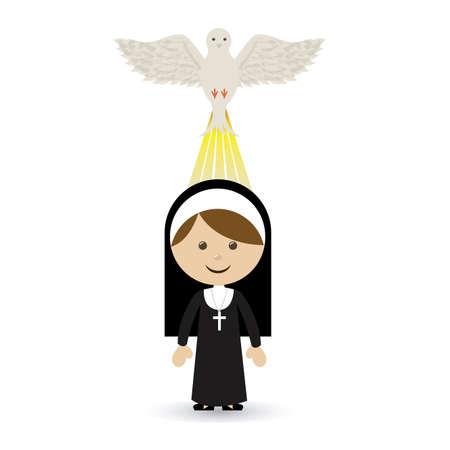 nun: holy design over  white background vector illustration Illustration