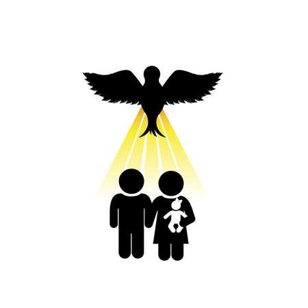 sacra famiglia: disegno sacro su sfondo bianco illustrazione vettoriale