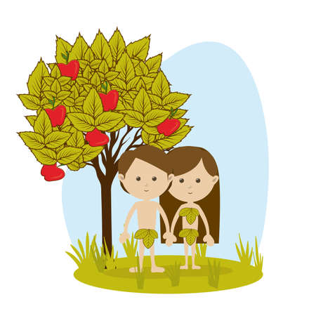Adán y Eva sobre fondo blanco ilustración vectorial