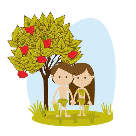 manzana: Adán y Eva sobre fondo blanco ilustración vectorial
