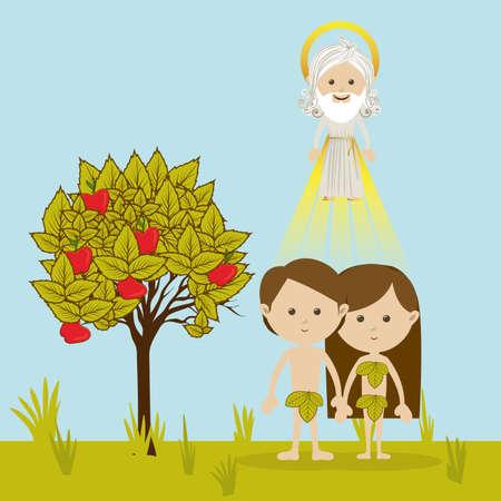 origen animal: Adán y Eva sobre el paisaje de fondo ilustración vectorial Vectores