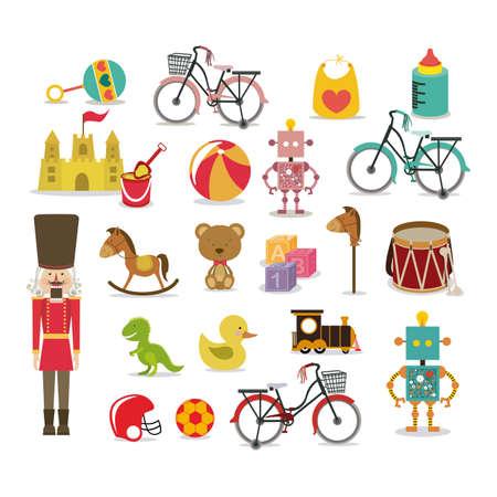 kids toys: boy toys over white background vector illustration Illustration