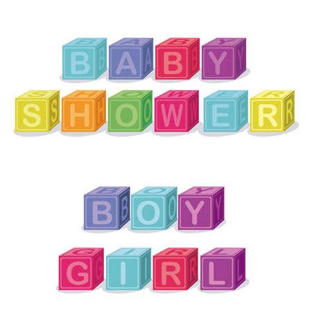 kleine meisjes: baby shower ontwerp op een witte achtergrond vector illustratie Stock Illustratie