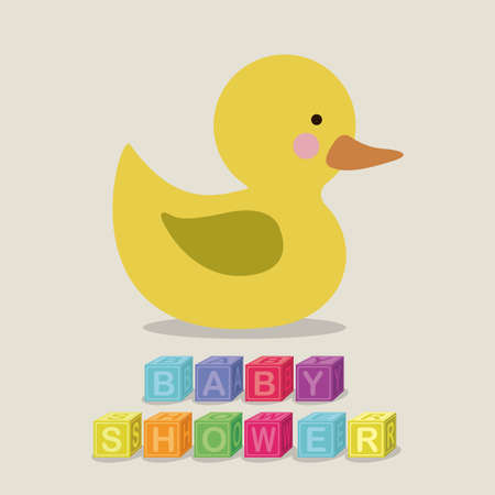 ducky: baby shower design over  gray background vector illustration