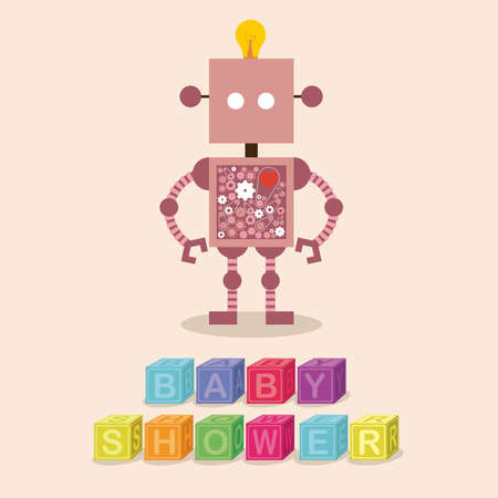 baby shower design over pink  background vector illustration    Vector