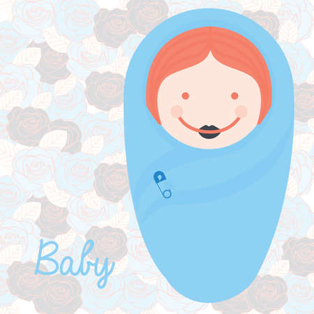 baby shower design over roses background vector illustration Illustration