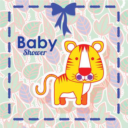 tiger design over floral background vector illustration   Illustration