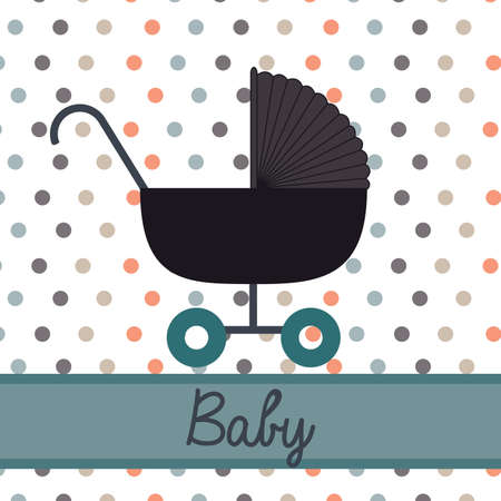 cart baby over dotted background vector illustration