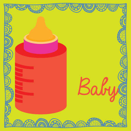 bottle baby over green background vector illustration  Vector