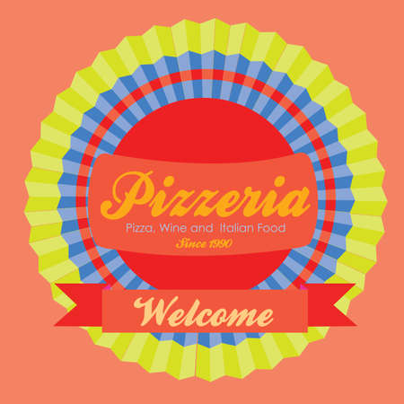 pizzeria label: pizzeria label over pink background vector illustration