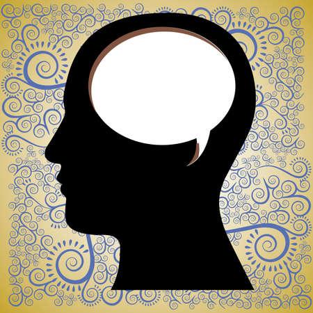 think  design over pattern background vector illustration  Illustration