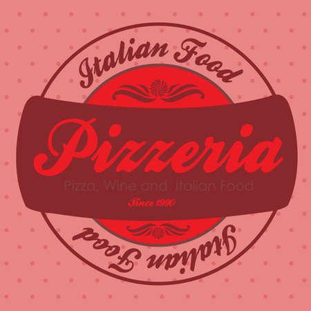 pizzeria label: etiqueta pizzeria sobre fondo rosa ilustraci�n vectorial Vectores
