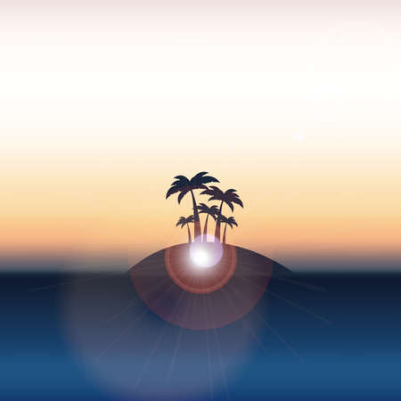 natural paint over sunset vector illustration Vector