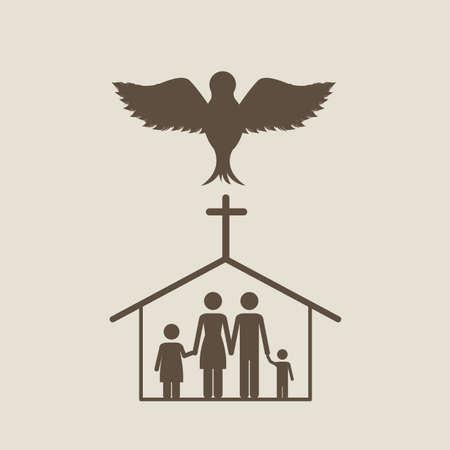 holy family: holy design over beige background vector illustration