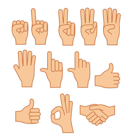 hands gesture over white  background vector illustration Vector