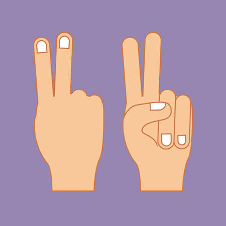 hands gesture over purple  background vector illustration Vector