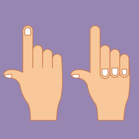 nonverbal: hands gesture over purple background vector illustration Illustration