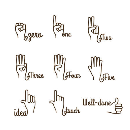 nonverbal: hands gesture over white background vector illustration
