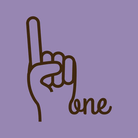 nonverbal: hands gesture over purple  background vector illustration