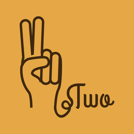le geste de mains sur fond orange illustration vectorielle Vecteurs