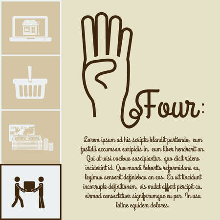nonverbal: hands gesture over beige background vector illustration