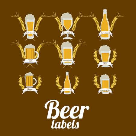 beers: beers design over  brown background vector illustration  Illustration