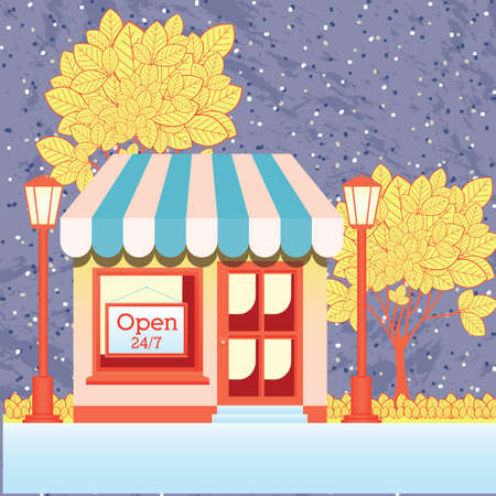 frontdoor: store design over pattern background vector illustration