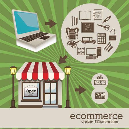 frontdoor: store design over grunge background vector illustration
