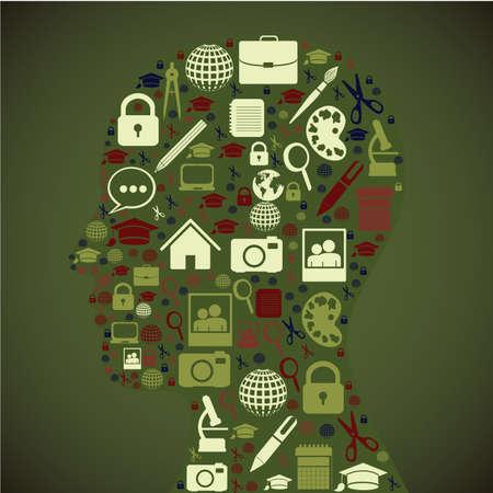 profile icons over green background vector illustration Ilustração