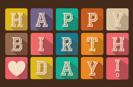 happy birthday heart shapes: Happy birthday card with squares vector illustration  Illustration