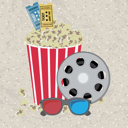 movie theater: movie theater over pattern background vector illustration