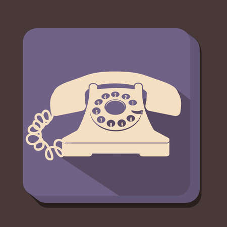 balck: illustration of a rotary phone, balck color, vector illustration