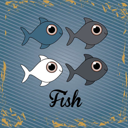 fishy: fish design over lineal background vector illustration