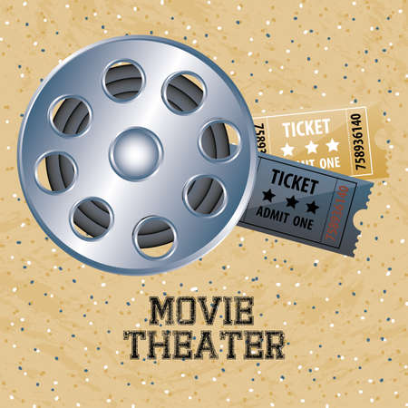 movie theater over vintage background vector illustration Vector