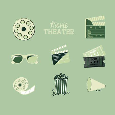 movie theater over blue background vector illustration Vector