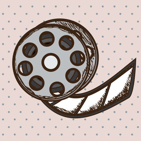 movie theater: movie theater over dotted background vector illustration