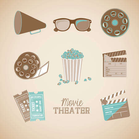 cinematograph: movie theater over pink background vector illustration