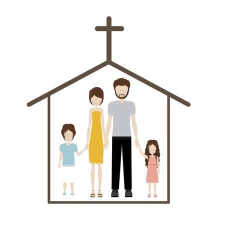 familia en la iglesia: dise�o humano sobre fondo blanco ilustraci�n vectorial