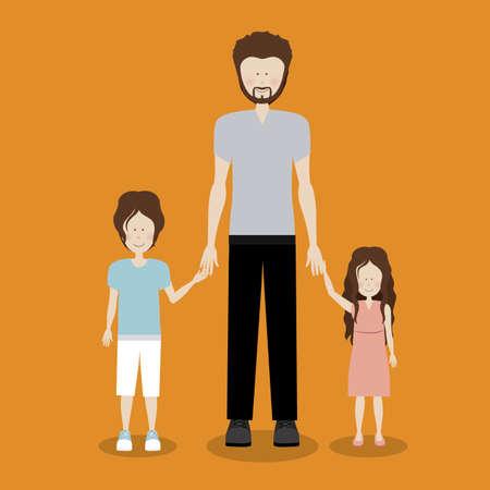 human design over orange background vector illustration Vector