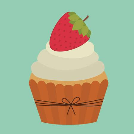 cup cake design over  blue  background vector illustration   Vector