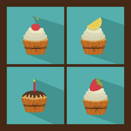 cup cake design over brown  background vector illustration