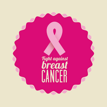 breast cancer over  beige background vector illustration Vector