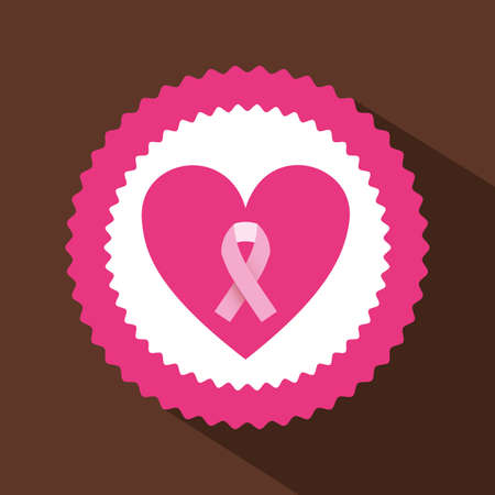 ribbon pink over brown background vector illustration Vector