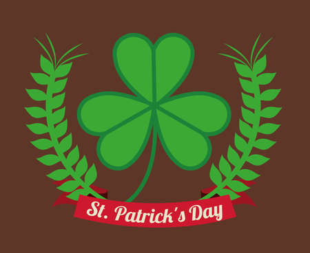 st patrick day over brown background vector illustration Vector